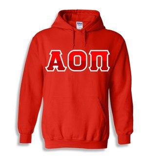 Alpha Omicron Pi Two Tone Greek Lettered Hooded Sweatshirt