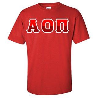 Alpha Omicron Pi Two Tone Greek Lettered T-Shirt