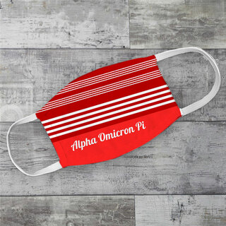 Alpha Omicron Pi Two Tone Stripes Face Mask