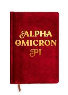 Alpha Omicron Pi Velvet Notebook