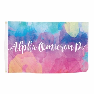 Alpha Omicron Pi Watercolor Flag