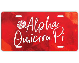 Alpha Omicron Pi Watercolor Script License Plate