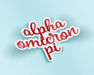 Alpha Omicron Pi Watercolor Script Sticker Sticker