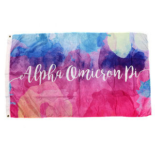 Alpha Omicron Pi Watercolor Sorority Flag
