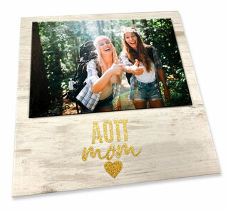"""Alpha Omicron Pi White 7"""" x 7"""" Faux Wood Picture Frame"""
