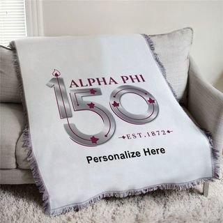 Alpha Phi 150 Years Afghan Blanket Throw