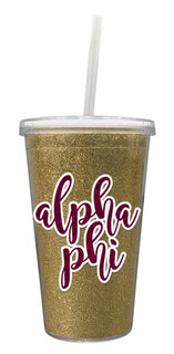 Alpha Phi 16 OZ Sorority Newport Glitter Tumbler