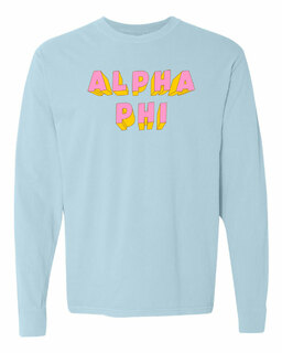 Alpha Phi 3Delightful Long Sleeve T-Shirt - Comfort Colors