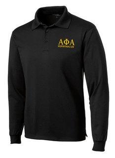 Alpha Phi Alpha- $35 World Famous Long Sleeve Dry Fit Polo