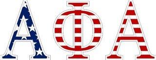 "Alpha Phi Alpha American Flag Greek Letter Sticker - 2.5"" Tall"