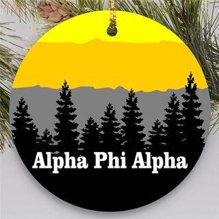 Alpha Phi Alpha Christmas Mountains Round Ornaments
