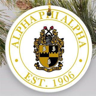 Alpha Phi Alpha Circle Crest Round Ornaments