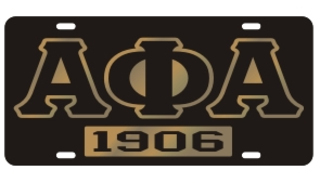 Alpha Phi Alpha License Plate - Black, Founded