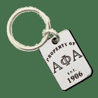 Alpha Phi Alpha Property of Tag Keychain
