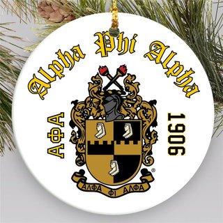 Alpha Phi Alpha Round Christmas Shield Ornament
