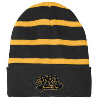 Alpha Phi Alpha Striped Beanie with Solid Band