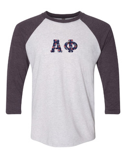 Alpha Phi Unisex Tri-Blend Three-Quarter Sleeve Baseball Raglan Tee