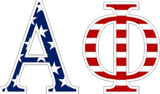 "Alpha Phi American Flag Greek Letter Sticker - 2.5"" Tall"