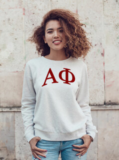 Alpha Phi Arched Greek Lettered Crewneck Sweatshirt