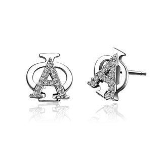 Alpha Phi Badge Stud Earrings