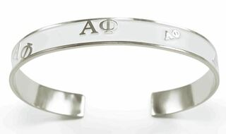 Alpha Phi Bangle Bracelet (White)