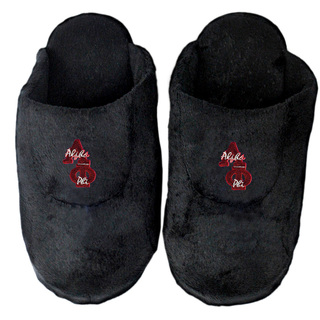 DISCOUNT-Alpha Phi Black Solid Letter Slipper