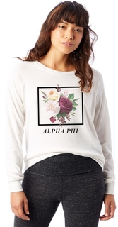 Alpha Phi Bouquet Slouchy Eco-Jersey Pullover
