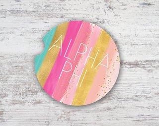 Alpha Phi Bright Stripes Sandstone Car Cup Holder Coaster