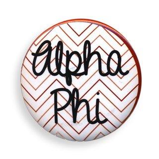 Alpha Phi Chevron Script Button