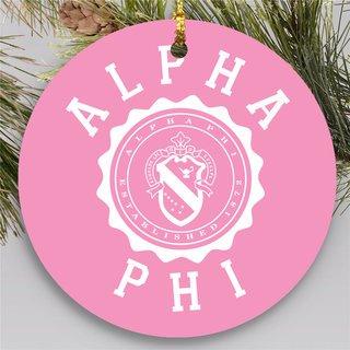 Alpha Phi Round Christmas Shield Ornament