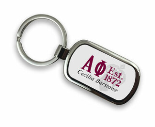Alpha Phi Chrome Crest - Shield Key Chain