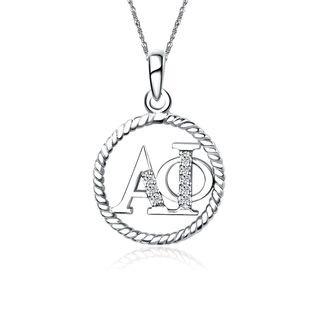 Alpha Phi Circular Silver Lavalier