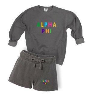 Alpha Phi Comfort Colors Crew and Short Set