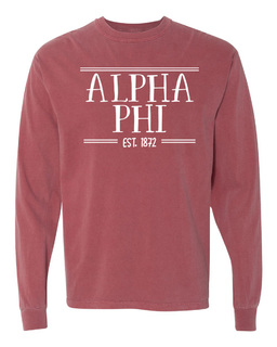 Alpha Phi Comfort Colors Custom Long Sleeve T-Shirt