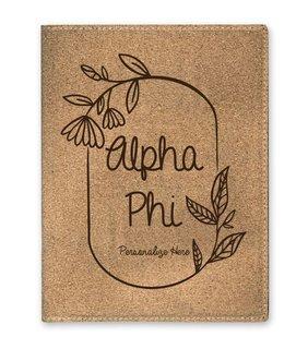 Alpha Phi Cork Portfolio with Notepad