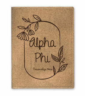 Alpha Phi Cork Portfolio with Notepad