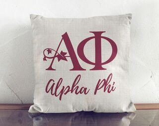 Alpha Phi Logo Colored Pillow