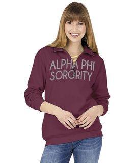 Alpha Phi Crosswind Over Zipper Quarter Zipper Sweatshirt