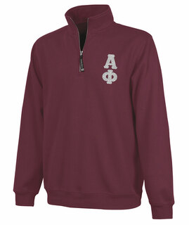 Alpha Phi Crosswind Quarter Zip Twill Lettered Sweatshirt