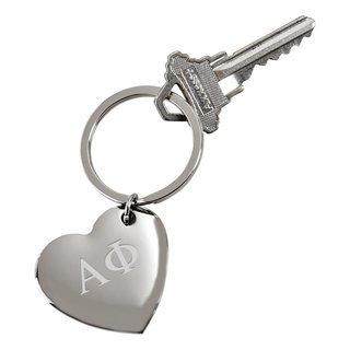 Alpha Phi Cupid Heart Shaped Key Ring