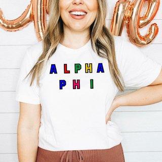 Alpha Phi Custom Colors Embroidered Nickname Tee