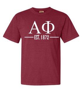 Alpha Phi Custom Greek Lettered Short Sleeve T-Shirt - Comfort Colors