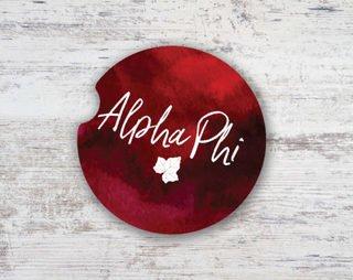 Alpha Phi Sandstone Car Cup Holder Coaster