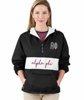 Alpha Phi Custom Stripe Script Pullover Anorak