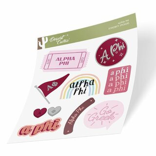 Alpha Phi Cute Sticker Sheet
