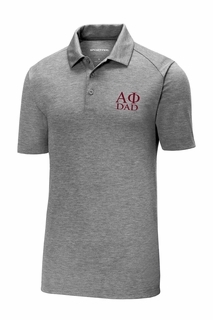 Alpha Phi Dad Posicharge Tri Blend Wicking Polo