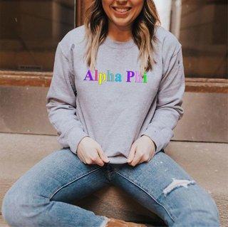 Alpha Phi Embroidered Rainbow Nickname Crewneck