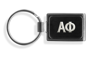 Alpha Phi Engraved Chrome Keychains