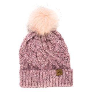 Alpha Phi Faux Fur Pom Beanie Hat