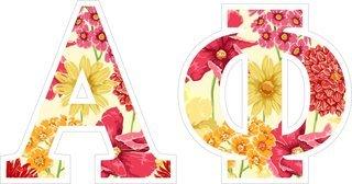 "Alpha Phi Floral Greek Letter Sticker - 2.5"" Tall"